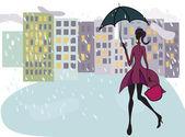 Girl with umbrella — Stock Vector