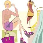 Girl on Shopping. Fashion Shop — Stock Vector #29643439