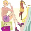 Girl on Shopping. Fashion Shop — Stock Vector