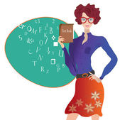 Teacher in a Classroom in School. Professor with Text Book — Stock Vector
