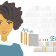Student Preparing for New School Year. Pupil with Books — Stock Vector
