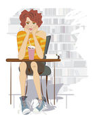 Teenage Girl with Chocolate Shake and Books. Student sitting on a Desk — Stock Vector