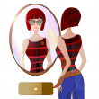 Young Woman Looking at the Mirror. Illustration of a girl with Fashionable Sunglasses — ストック写真