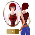 jovem olhando no espelho. ilustração de uma garota com óculos de sol na moda — Foto Stock