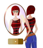 Young Woman Looking at the Mirror. Illustration of a girl with Fashionable Sunglasses — Stock Photo