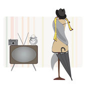 Retro Room. Alarm Clock, TV, Photo Camera, Hat and Umbrella and Dummy. Set of Vector Objects — Vector de stock