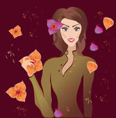 портрет красивой молодой женщины с цветами. векторные иллюстрации — Cтоковый вектор
