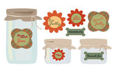 Labels Set. Collection of labels with Jars of Jelly and Jam — Stock Vector