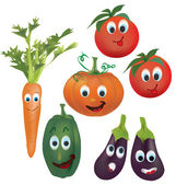 Set of Vector Vegetables Character — Stock Vector