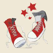 Canvas Shoes Sketch — Stock Vector