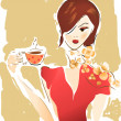Girl with Coffee Cup or Tea — Stockfoto
