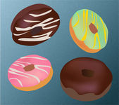 Chocolate Donuts — Stock Vector