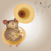 Illustration of a Mouse Playing on Tuba — Vector de stock