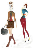 Illustration of Young Girls. Fashion sketch — Stock Photo