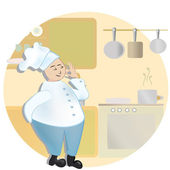 Chef. Man in cooker uniform showing Ok sign — Stock Vector