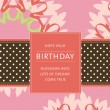 Birthday card with flowers and ribbon with dots — Stock Vector