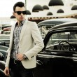 Young handsome man, model of fashion, wearing jacket and shirt w — Stock Photo