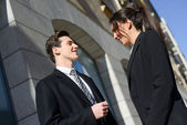 Business talking outside of company building. Couple work — Stock Photo