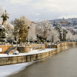 Stock Photo: Snow storm with slush on sidewalks. Granada