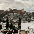 Snow storm with slush on sidewalks. Granada - Stock Photo
