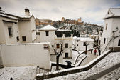 Snow storm with slush on sidewalks. Granada — Stock Photo