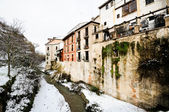 Snow storm in Darro river. Granada, Andalusia, Spain — Stock Photo