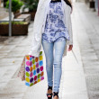 Beautiful woman with shopping bags walking along a commercial st — Stock Photo #41710877