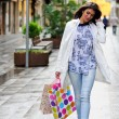 Beautiful woman with shopping bags walking along a commercial st — Stock Photo #41944967