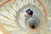 Just married couple in a spiral staircase — Stock Photo
