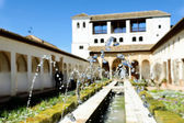 Courtyard of the acequia in Generalife, Alhambra, Granada — Stock Photo