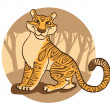 Tiger on a brown background. — Stock Vector