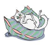 Kot leżący na poduszce. — Wektor stockowy