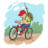 Travelling by bike. — Stock Vector