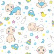Stock Vector: Seamless pattern for baby boys.