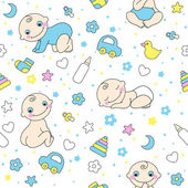 Seamless pattern for baby boys. — Stock Vector
