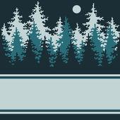 иллюстрация ночь хвойных лесов с местом для — Cтоковый вектор