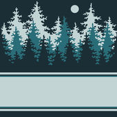 Illustration of a night of coniferous forest with a place for yo — Stockvector