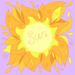 Illustration of a yellow sun with a place for your text — Imagen vectorial