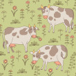 Royalty-Free Stock Imagen vectorial: Seamless texture with cows, bull and flowers in the style of car