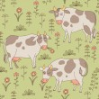 Seamless texture with cows, bull and flowers in the style of car — Stock Vector