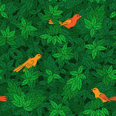 Foliate pattern with birds. — ストックベクタ