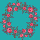 Beautiful wreath of roses. — Vecteur