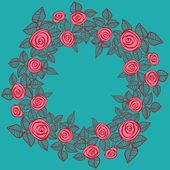玫瑰的美丽花环. — 图库矢量图片