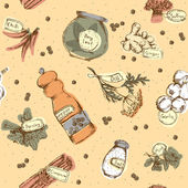 Seamless pattern of spices and herbs — Stock Vector