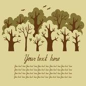 绿色的落叶森林与一个地方为你 te 的插图 — 图库矢量图片