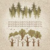 Illustratie van groene naaldbossen en bladverliezende bossen met een pl — Stockvector