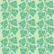 Floral seamless pattern with green decorative leaves. Vector ill - Stock Vector