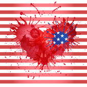 Background with a heart for the holiday on July 4 Independence D — Stock Vector