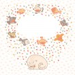 Vector illustration of a cute cat and birds. Card with place for — Stock Vector #25825645