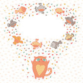 Vector illustration of a cute cat and birds. Card with place for — Stockvector